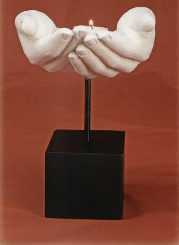Sculptural Hands Votive Candle Holder
