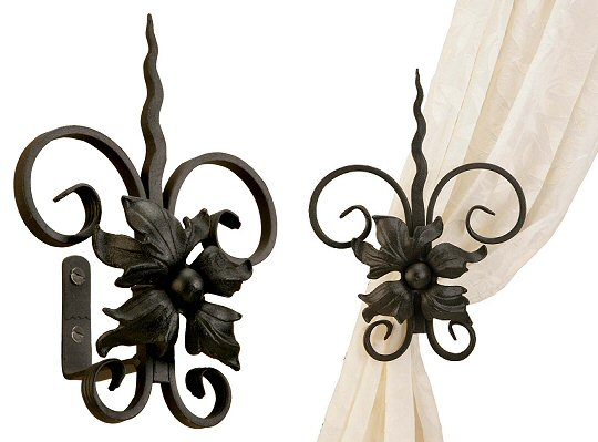 Wrought Iron Floral Spear Holdbacks
